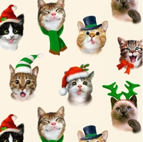 Christmas Pet Selfies Silly Holiday Cats Kittens Cotton Fabric