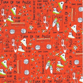 The Beat Dance to the Music Dancing Words Hip Hop Ballet Cotton Fabric