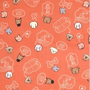 Dawg Dog Heads and Puppy Dog Dreams Salmon Cotton Fabric