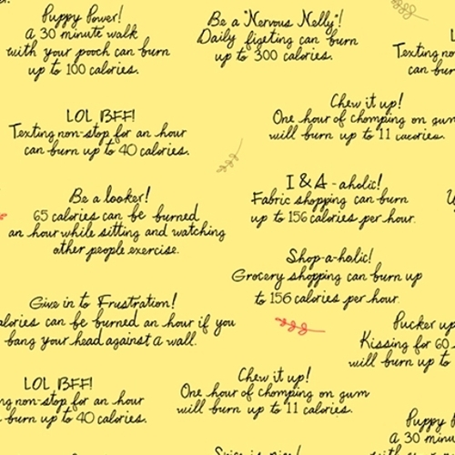 Healthy Eats How to Burn Calories Phrases Yellow Cotton Fabric