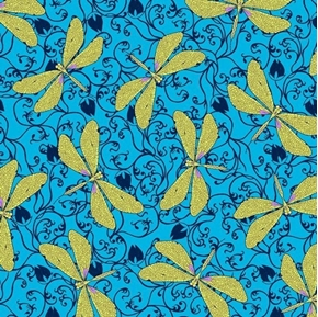 Hayden Green Dragonflies on Illustrated Blue Cotton Fabric