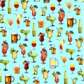 Margaritaville Cocktails Island Drinks Jimmy Buffet Aqua Cotton Fabric