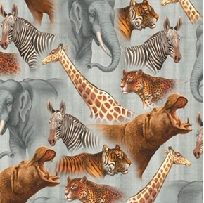 Out of Africa Safari Animals Packed Hippo Zebra Grey Cotton Fabric