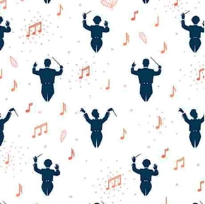 Melodie Music Conductors Symphony Conductor White Cotton Fabric