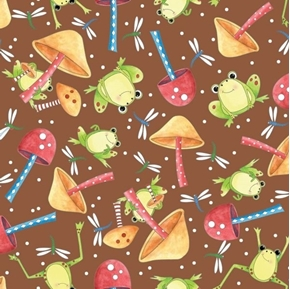 It's a Pond Party Frogs Dragonflies Mushrooms Brown Cotton Fabric