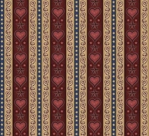 For Love Of Country Heart and Scroll Red Stripe Cotton Fabric