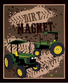 John Deere Dirt Magnet Tractor Farming Large Cotton Fabric Panel