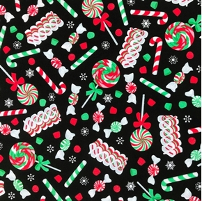 Christmas Candy Peppermint Candy Canes Ribbons Black Cotton Fabric