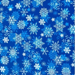 Holiday Snowflakes Blue and White Snow on Blue Cotton Fabric