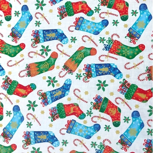 Christmas Stockings and Candy Canes Metallic Cream Cotton Fabric