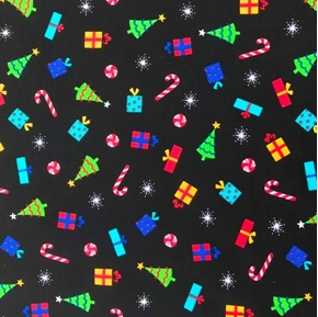 Christmas Trees Presents and Candy Black Cotton Fabric