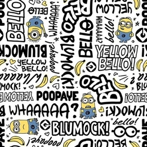 Millions of Minions Words Blumock Poopaye Yellow Bello Cotton Fabric