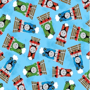 Thomas the Tank Engine Train Toss Percy James Blue 2014 Cotton Fabric