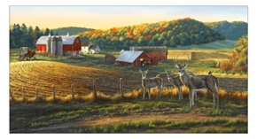 Picture of Whitetails Deer Grazing Autumn Farm 24x44 Cotton Fabric Panel