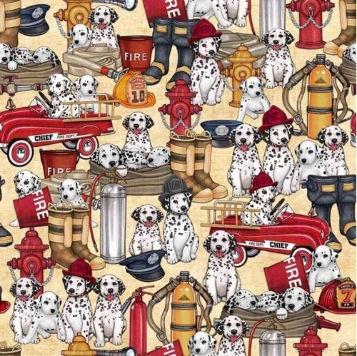 5 Alarm Dalmatians and Equipment Firefighter Dogs Beige Cotton Fabric
