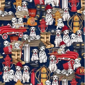Picture of 5 Alarm Dalmatians and Equipment Firefighter Dogs Blue Cotton Fabric
