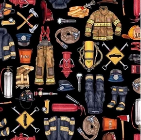 Picture of 5 Alarm Firefighter Equipment Hydrant Hose Ax Black Cotton Fabric