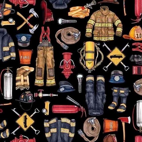 5 Alarm Firefighter Equipment Hydrant Hose Ax Black Cotton Fabric