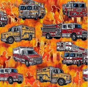 Picture of 5 Alarm Firetrucks Firefighters Ambulances Orange Fire Cotton Fabric