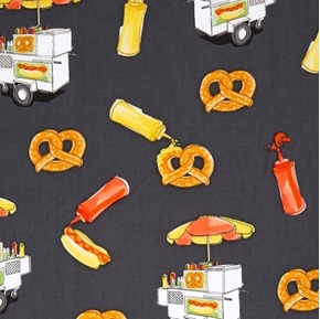 City Life Hot Dog Pretzel Food Cart Street Vendor Black Cotton Fabric