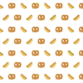 City Life Hot Dogs Pretzels Street Food White Cotton Fabric