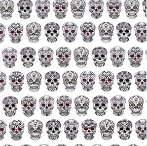 Sweet Rebellion Sugar Skulls Scrolled Skull White Cotton Fabric