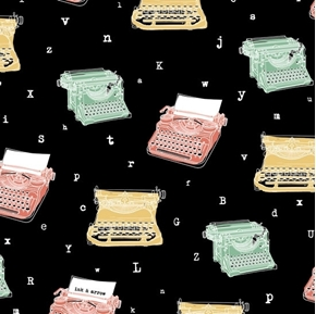 Talk To Me Retro Typewriters and Letters on Black Cotton Fabric