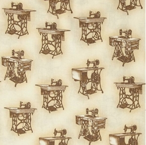 Picture of Sewing With Singer Vintage Peddle Machines Sepia Cotton Fabric