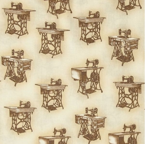 Sewing With Singer Vintage Peddle Machines Sepia Cotton Fabric