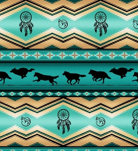 Picture of Tucson Southwest Dream Catcher Wolves Wolf Turquoise Cotton Fabric