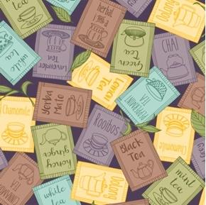 Tea-rrific Tea Packets Chamomile Chai Herbal Mint Purple Cotton Fabric