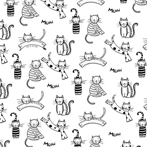Picture of The Cats Meow Playful Cat Drawings Black on White Cotton Fabric