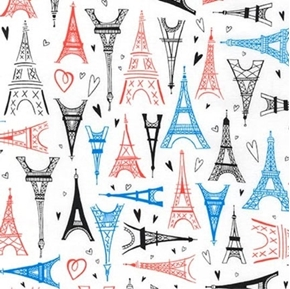 Paris Adventure Eiffel Towers and Hearts on White Cotton Fabric