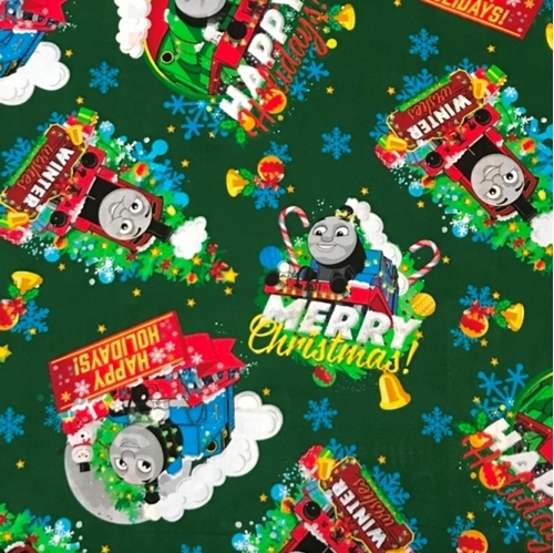 Cotton Fabric Character Fabric Holiday Thomas The Train Merry
