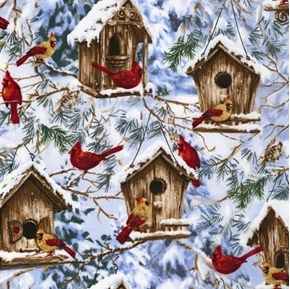 Cardinals and Birdhouses Songbirds in Snowy Trees Cotton Fabric