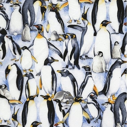 Picture of Stacked Penguins Penguin Families Packed Cotton Fabric