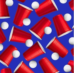 Beer Pong Red Cups Ping Pong Balls Drinking Game on Blue Cotton Fabric