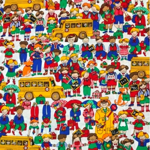 Bookworm Students Teachers and School Busses at School Cotton Fabric