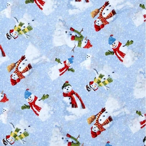 Winter's Eve Snowmen and Snow Dogs on Blue Snowy Cotton Fabric