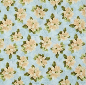 Woodland Holiday White Poinsettia Flowers on Light Teal Cotton Fabric