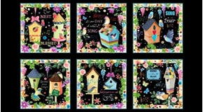 Blessed Inspiration Bird House Picture Patch 24x44 Cotton Fabric Panel
