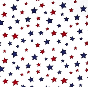 Star Fall Patriotic Red Blue Stars Scattered on White Cotton Fabric