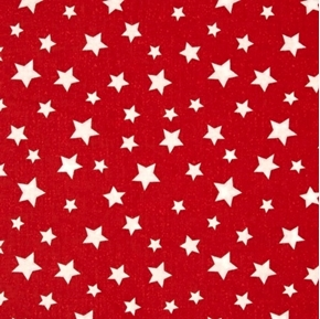 Star Fall Patriotic White Stars Scattered on Red Cotton Fabric