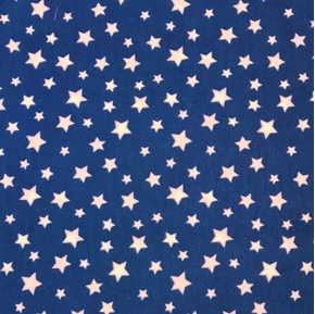 Star Fall Patriotic White Stars on Navy Blue Cotton Fabric