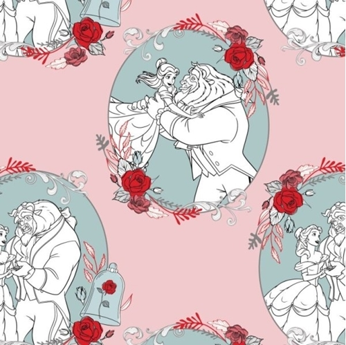 Disney Beauty and the Beast Love Dusty Pink Cotton Fabric