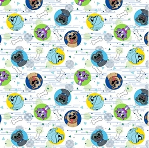 Disney Puppy Dog Pals Pugs Bing Rolly Hissy Arf White Cotton Fabric