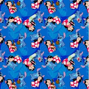 Disney Lilo and Stitch Friends Forever Blue Cotton Fabric