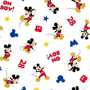 Disney Mickey Mouse Traditional Oh Boy Mickey White Cotton Fabric