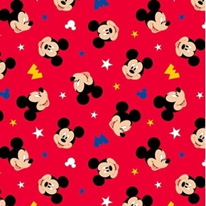 Disney Mickey Mouse Traditional Mickey Head Toss Red Cotton Fabric