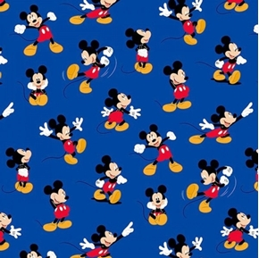 Disney Mickey Mouse Traditional Packed Mickey Blue Cotton Fabric